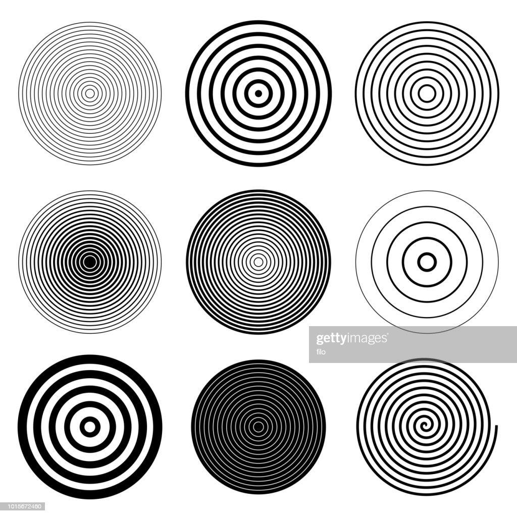 Circle Round Target Spiral Design Elements : stock illustration