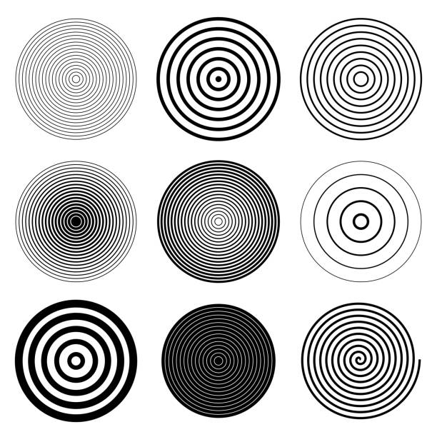 circle round target spiral design elements - swirl stock illustrations