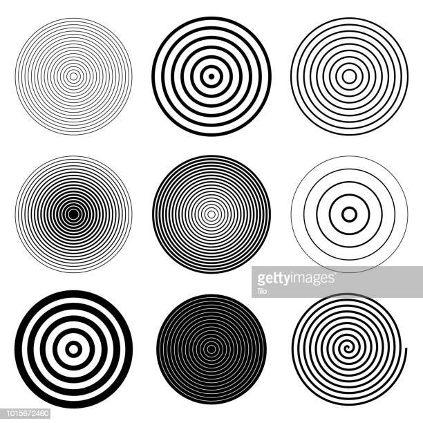 illustrazioni stock, clip art, cartoni animati e icone di tendenza di circle round target spiral design elements - ricciolo