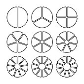 Circle segments set. Various number of sectors divide the circle on equal parts. From 2 to 10. Black thin outline graphics with no fill.