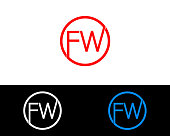 FW circle shape Initial letters Design
