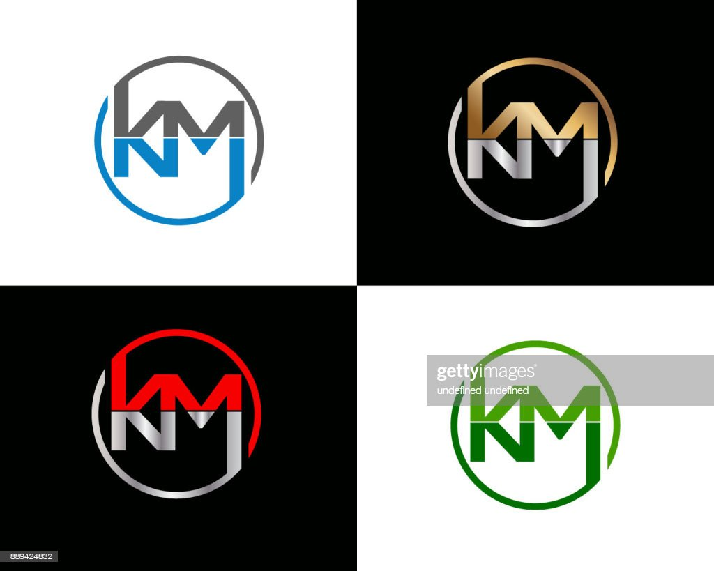 KM circle shape Letter Design