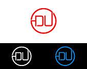 DU circle Shape Letter Design