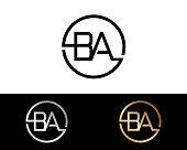 BA circle shape letters Design