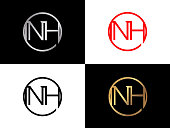 NH Circle Shape vector design