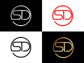 SD circle shape vector Letter design