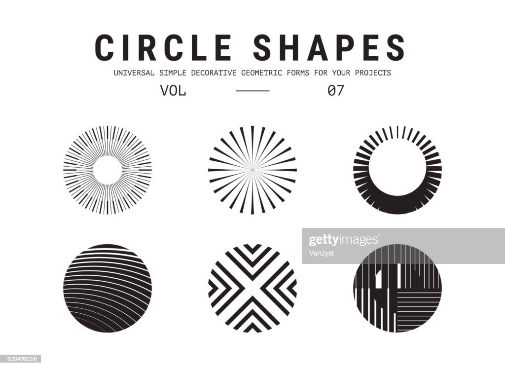 Circle shapes set. Universal simple decorative geometric forms