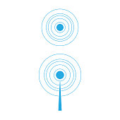 Circle signal waves. Sound or radar vector radio signals