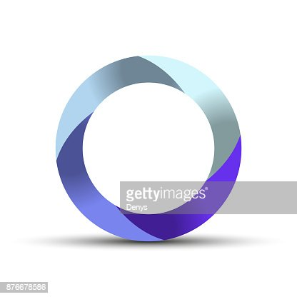 3d Circle Swirl Symbol With Shadow Origami Paper Style Vector