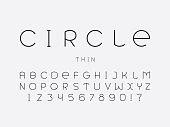 Circle thin font. Vector alphabet