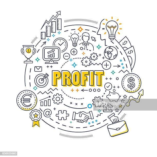 ilustrações, clipart, desenhos animados e ícones de conceito de linha fina de círculo-lucro - fazer dinheiro