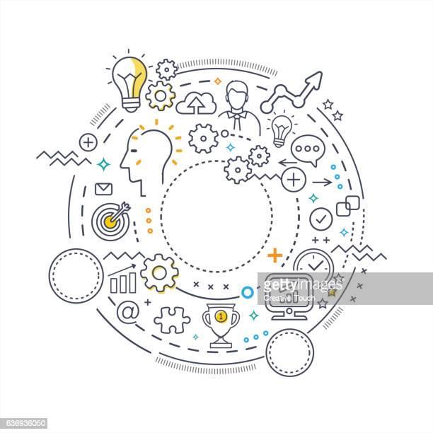 ilustrações, clipart, desenhos animados e ícones de conceito de linha fina de círculo-tehnology concept - negócios finanças e indústria