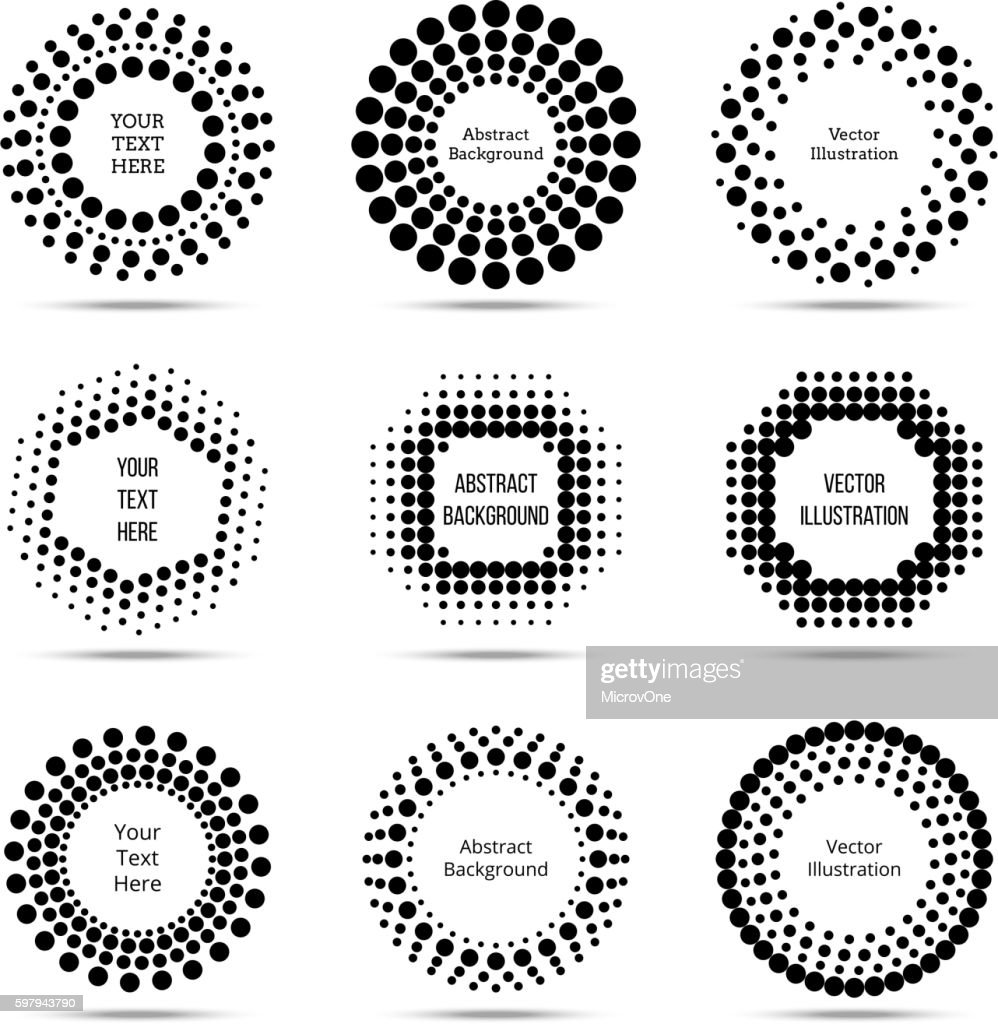 Circle vector dotted burst halftone banners