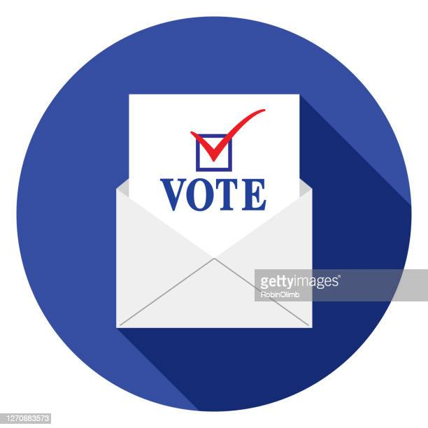 circle vote by mail icon - voting ballot stock illustrations