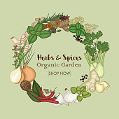 Circle wreath template with spices and herbs
