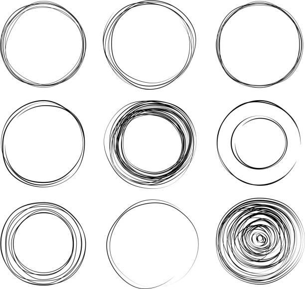 circles - pencil drawing stock illustrations