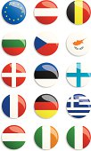 Circles with different European flags on a white background
