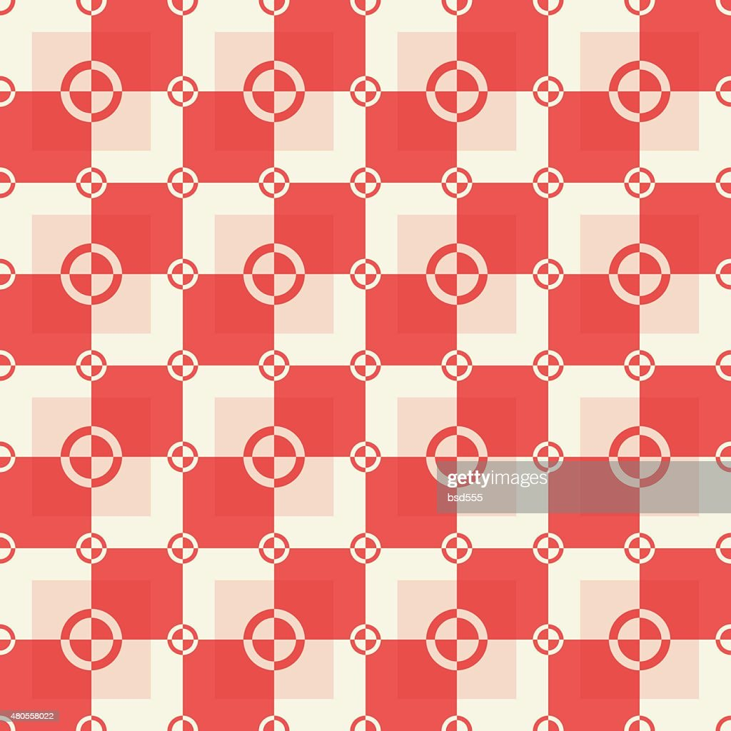 Circle-squares pattern in red and sand colors : Vector Art