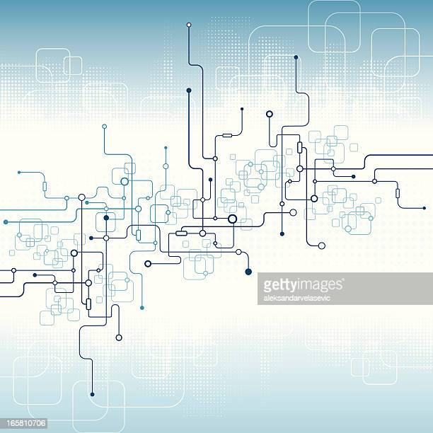 illustrazioni stock, clip art, cartoni animati e icone di tendenza di circuito stampato astratto - nodo dati