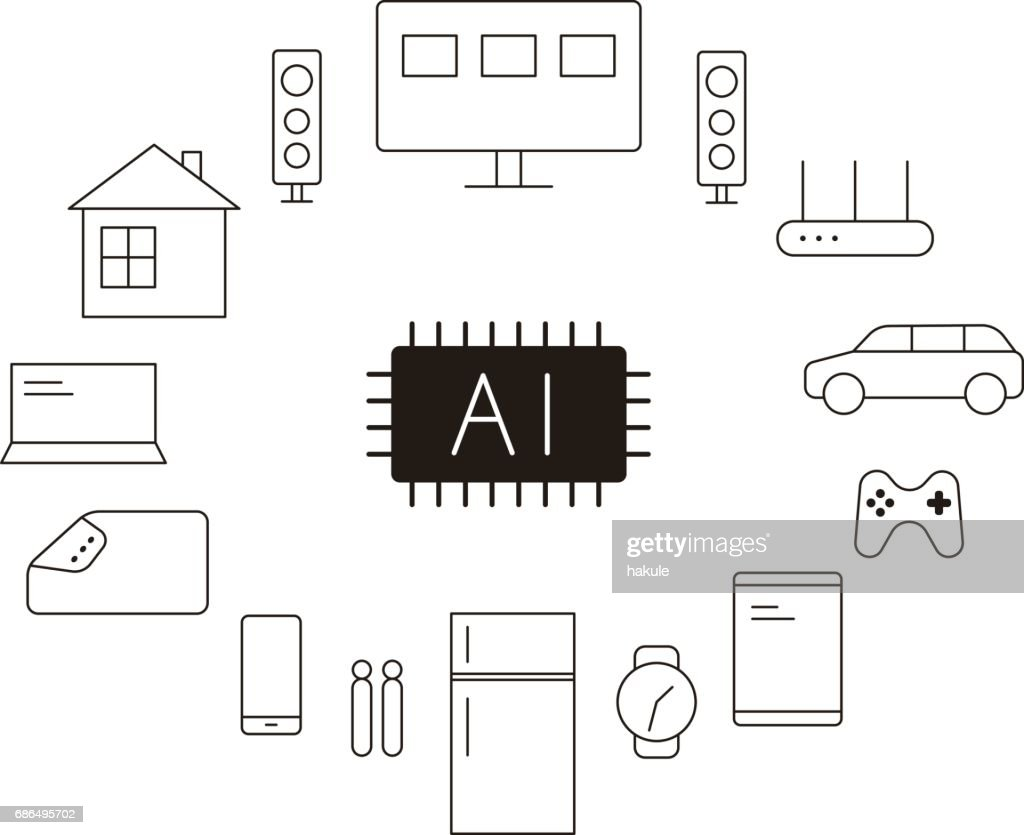 Circuit Board Artificial Intelligence Concept Smart Home Vector Diagram Illustration Art