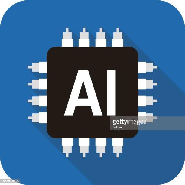 ilustrações, clipart, desenhos animados e ícones de placa de circuito, o conceito de inteligência artificial, ilustração vetorial - chip de computador