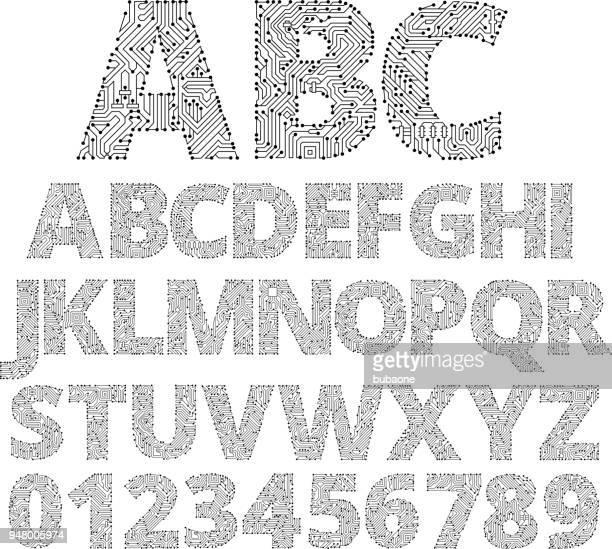circuit board custom made font - alphabet stock illustrations
