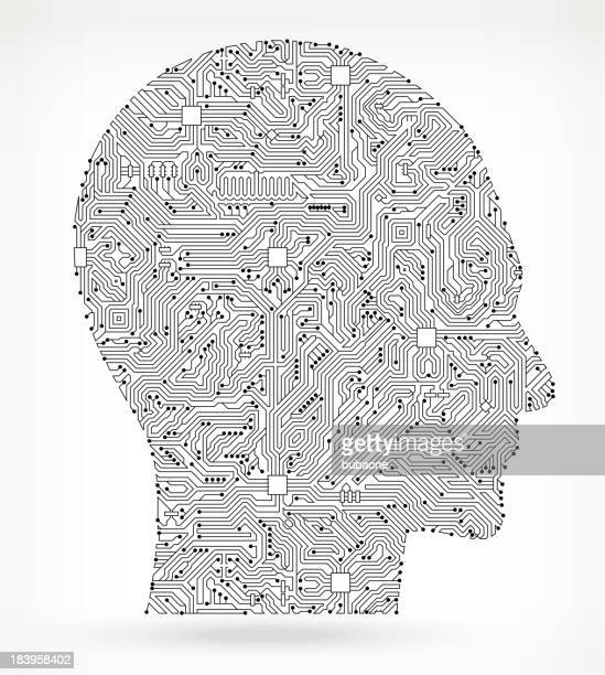circuit board human head - human nose stock illustrations