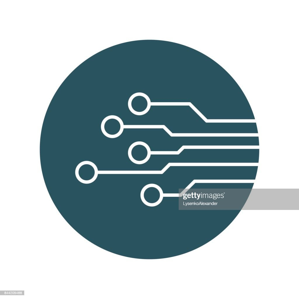 Circuit Board Icon Technology Scheme Symbol Flat Vector Illustration Diagram Symbols On Blue Background