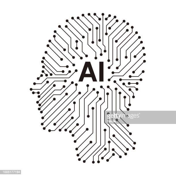 circuit board in the Cyborg head, Artificial intelligence of digital human.