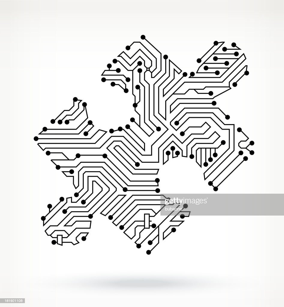 circuit board puzzle piece stock illustration getty images