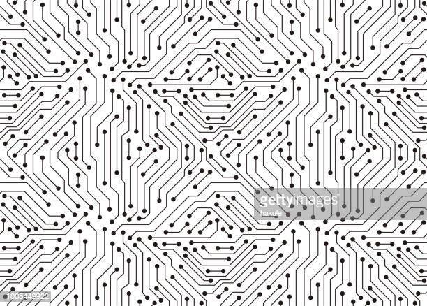circuit board texture background, seamless pattern - technology stock illustrations