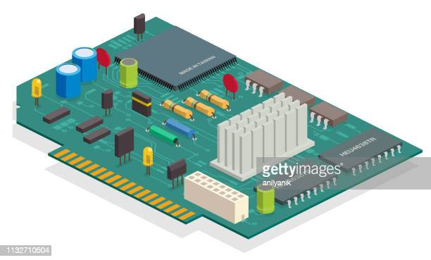 circuit board - computer part stock illustrations