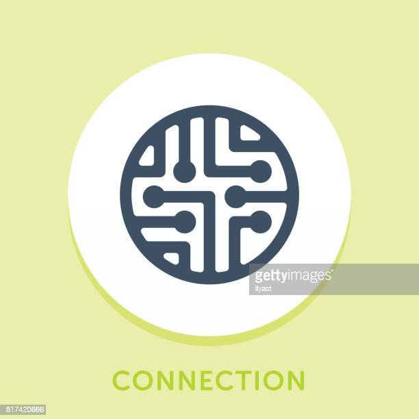 circuit curve icon - cable stock illustrations, clip art, cartoons, & icons