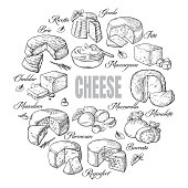 circular background of different cheese top view
