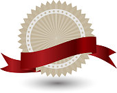 Circular best seller seal with red label graphic on white