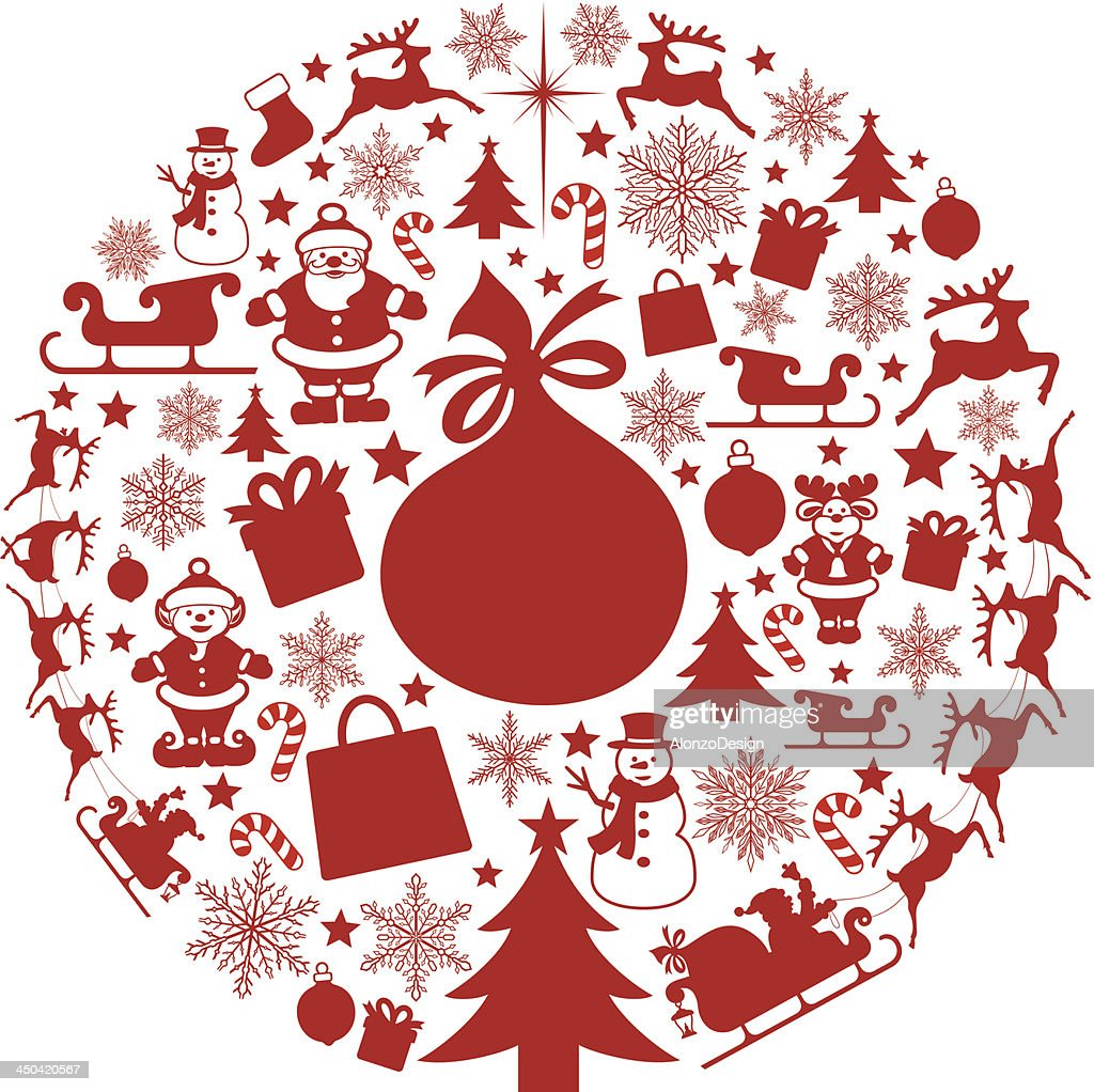 Circular collage of red Christmas designs