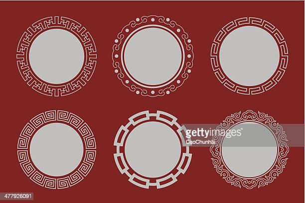 illustrazioni stock, clip art, cartoni animati e icone di tendenza di circolare frame di stile cinese - cultura cinese