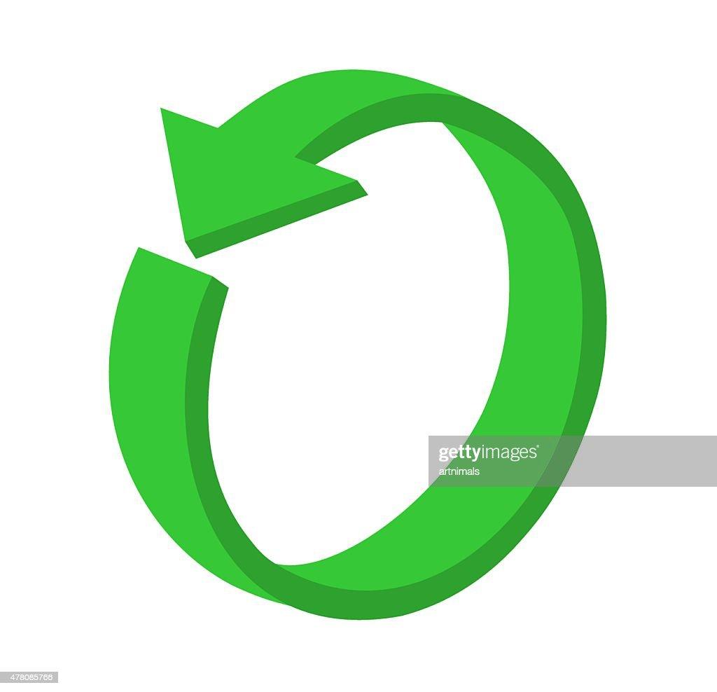 3D circular green arrow or recycling