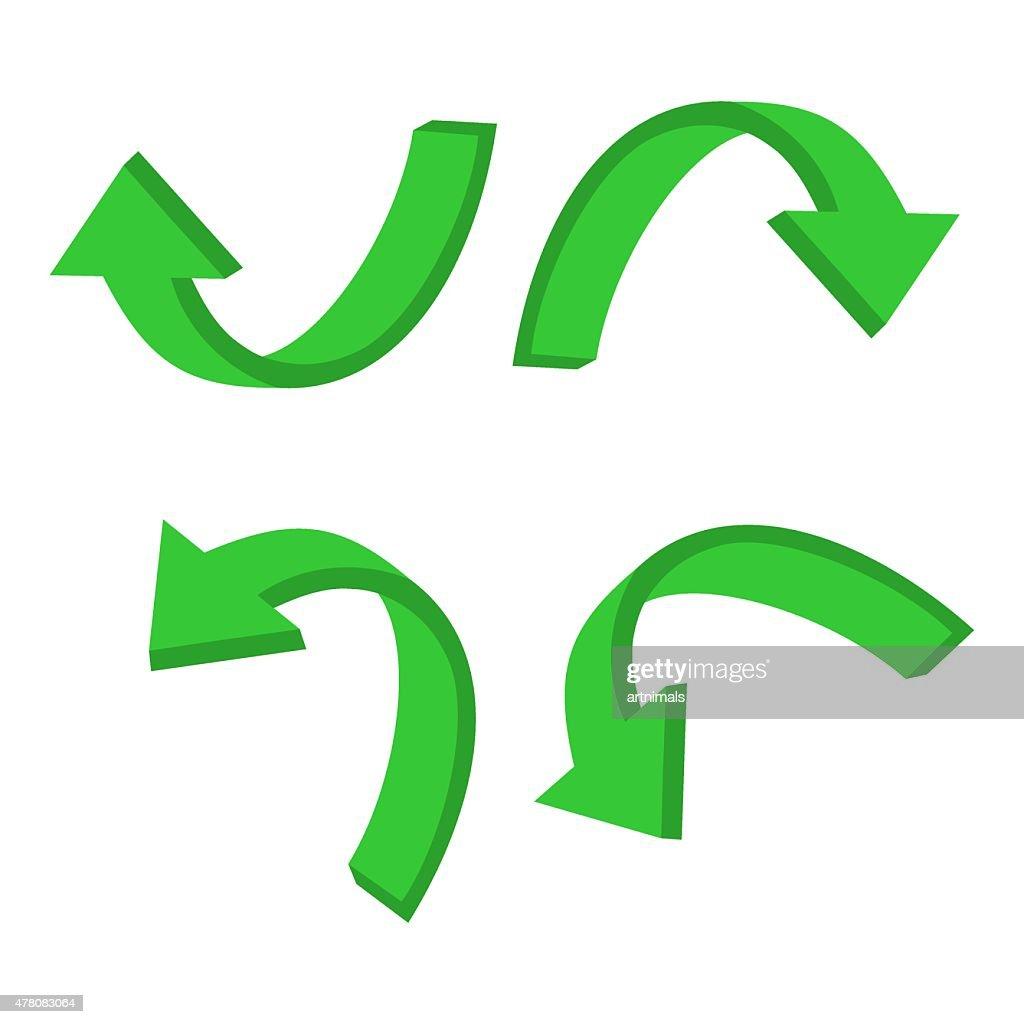 3D circular green arrow