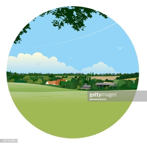 circular landscape illustration - eastern england stock illustrations