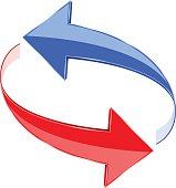 Circular motion arrows. Blue and red