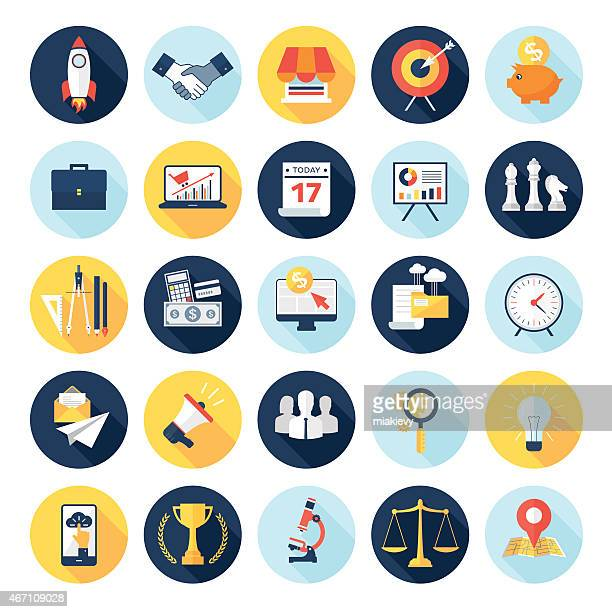 circular multicolored business icons on a white background - online advertising stock illustrations, clip art, cartoons, & icons