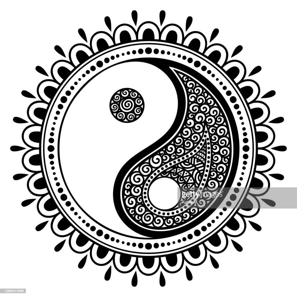 Circular pattern in form of mandala for Henna, Mehndi, tattoo, decoration. Decorative ornament in oriental style with Yin-yang hand drawn symbol. Coloring book page.
