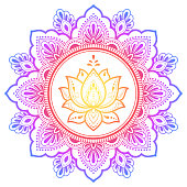 Circular pattern in form of mandala with lotus flower for Henna, Mehndi, tattoo, decoration. Decorative ornament in ethnic oriental style. Rainbow design on white background.