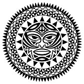 Circular pattern in form of mandala with Thunder-like Tiki is symbol-mask of God. Traditional ornaments of Maori people - Moko style. Vintage decorative tribal border from elements of African theme.