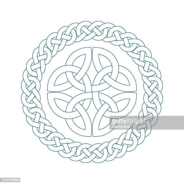 circular pattern of medieval style(celtic knot) - byzantine stock illustrations