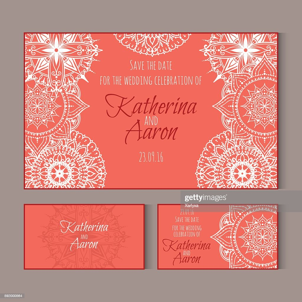 Circular patterns decor on wedding cards