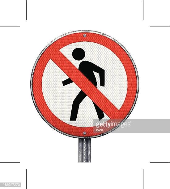 circular pedestrian crossing prohibition road sign