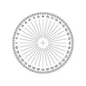 Circular Protractor. Protractor grid for measuring degrees. Tilt angle meter. Measuring tool. Measuring circle scale. Measuring round scale, Level indicator, circular meter EPS10