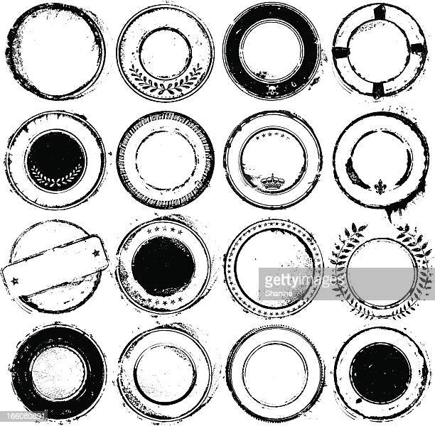 circular rubber stamps - very stained - grunge circle stock illustrations